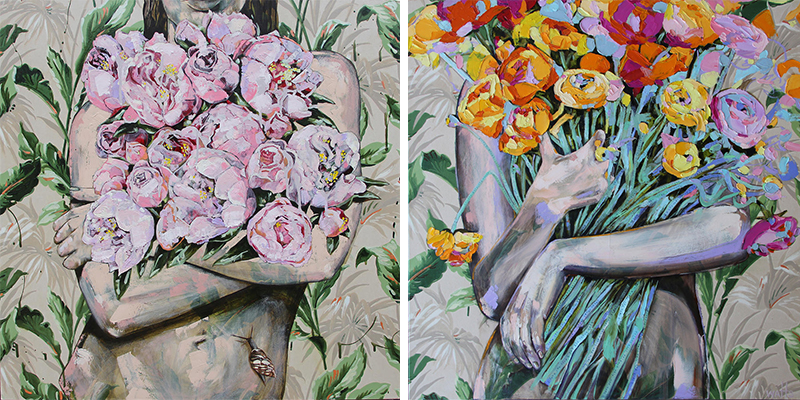 Jessica Watts - The Day of the Galloping Snail, 2014 and A Persuasion of Peonies 2015