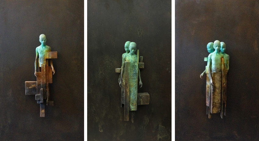 Jesus Curia - Dialogo I-2, 2016 (Left) - Dialogo II-2, 2016 (Center) - Dialogo III-2, 2016 (Right)