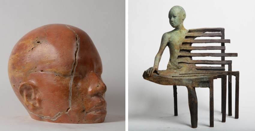 Jesus Curia - Travertino I, 2014 (Left) - Bench I, 2014 (Right)