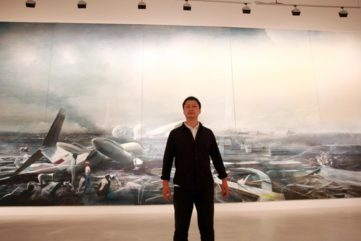 Jia Aili in front of his artwork - Photo copyright of CAC Malaga y Lorenzo Carnero