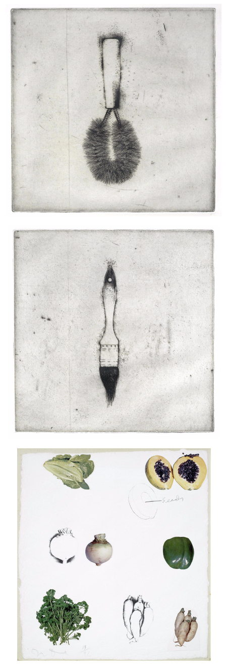Jim Dine-A Collection (Two etchings from Four German Brushes, Vegetables C, from Vegetables)-1973