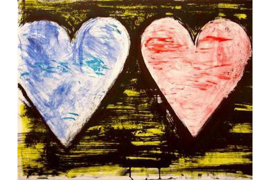 Jim Dine - Two Hearts at Sunset