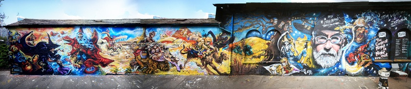 Jim Vision X Dr Zadok - Terry Pratchett mural, 2015 - Courtesy of End of the Line