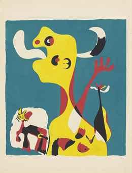 Joan Miro-Femme et chien devant la lune-1936