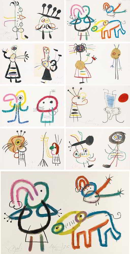 Joan Miro-L'Enfance D'Ubu: Nine Plates-1975