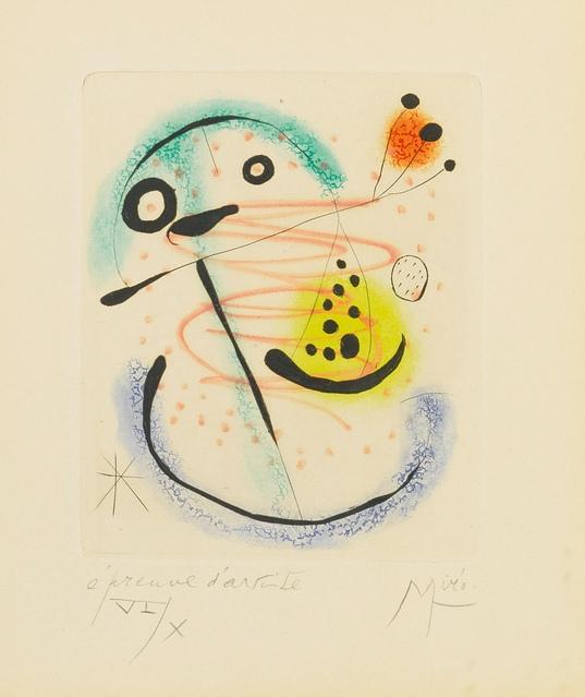 Joan Miro-La Bague DAurore - Plate XVII (Dupin 139)-1957