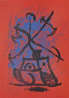 Joan Miro-The Teaser (Red)-1969