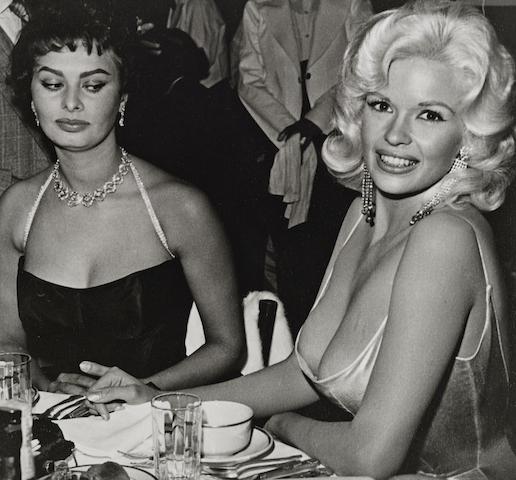 Joe Shere-Jane Mansfield and Sophia Loren at Romanoff's, Beverly Hills-1958