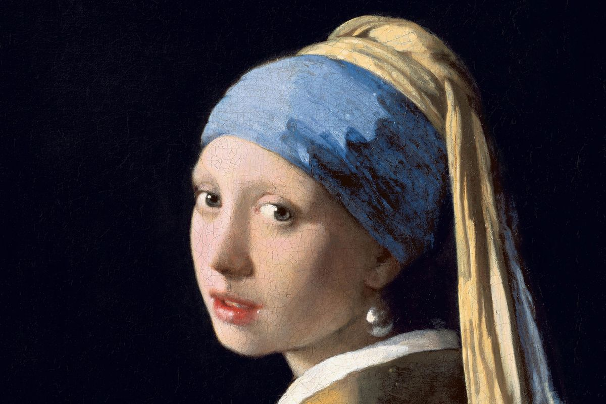 Johannes Vermeer - Girl With a Pearl Earring (detail), c. 1665, the history and identity of the young woman with a turban remains unknown