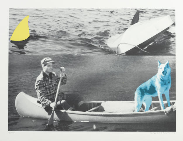 John Baldessari-Man Dog (Blue) Canoe/Shark Fins (One Yellow) Capsized Boat-2002