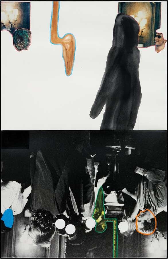 John Baldessari-Various Figures Dancing (with Large Black Shape)-1995