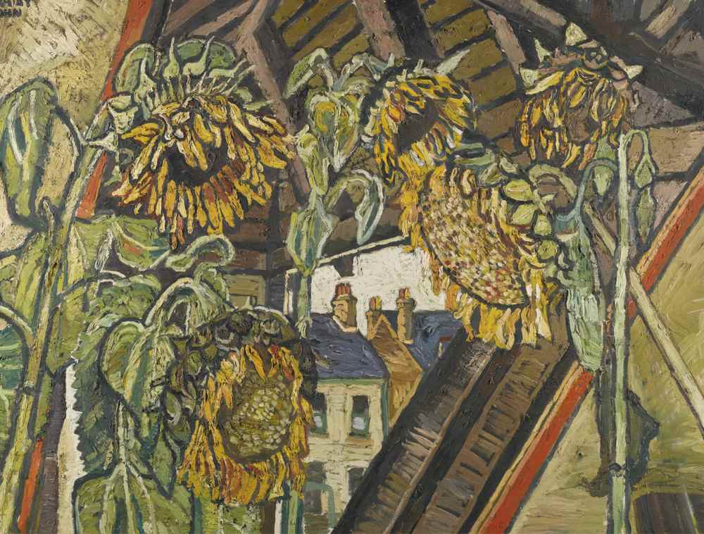 John Bratby-Five Sunflower Faces Around Triangular View-