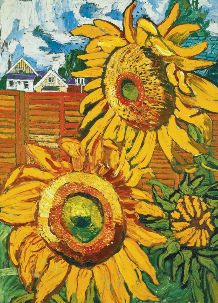John Bratby-Sunflowers-