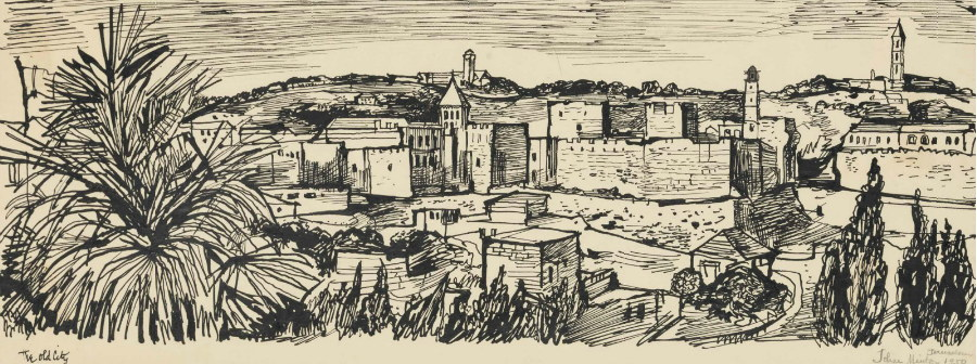 John Minton-Jerusalem, The Old City-1950
