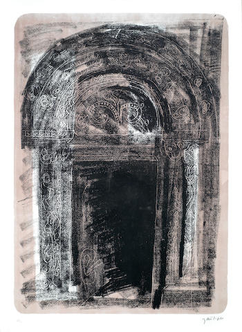 John Piper-Kilpeck, Herefordshire: the Norman South Door, from A Retrospective of Churches Portfolio-1964