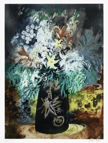 John Piper-Flowers in a Black Pot-1988