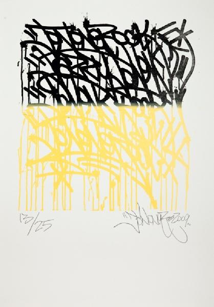JonOne-Composition en noir et jaune-2009