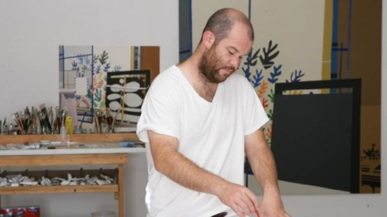 Jonas Wood in his studio - Image source Monocle Magazine