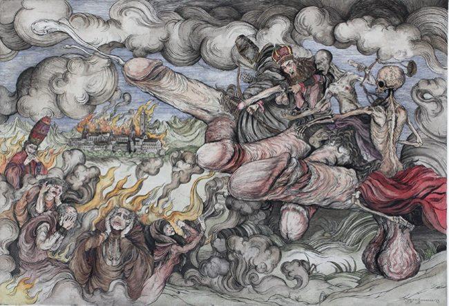 Jonathan Guthmann - The Four Horsemen of the Acockalypse (Hand Coloured Etching), 2013