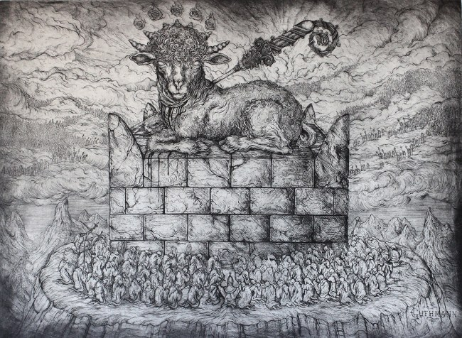 Jonathan Guthmann - The Slaughtered Lamb (Revelation 5), 2014, Etching on Hahnemuhle,  photo credits - artist