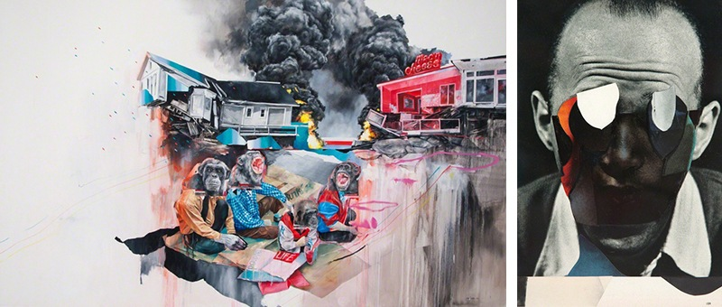 Joram Roukes - Jockey picnic and Charles Wilkin -The fog of flames, 2015