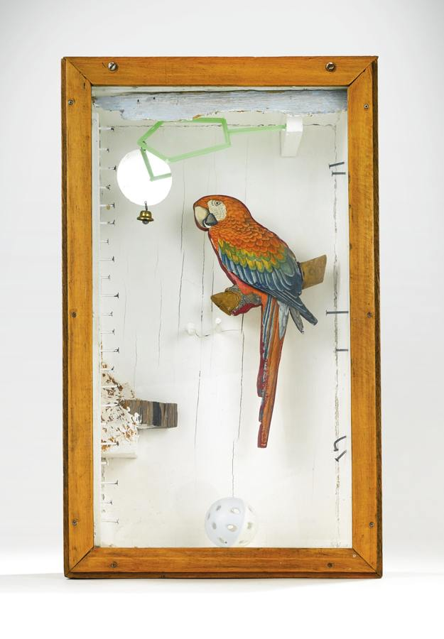 Joseph Cornell-Untitled (Aviary Series, Parrot With Toy Bell)-1953