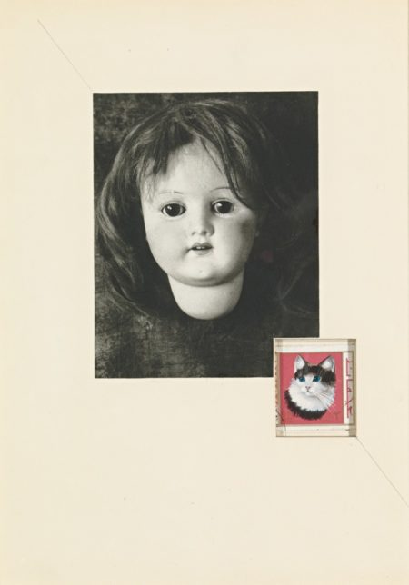 Joseph Cornell-Untitled (Doll'S Head And Kitty Stamp)-1970