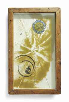 Joseph Cornell-Untitled (Sand Tray with Sun Face)-1957