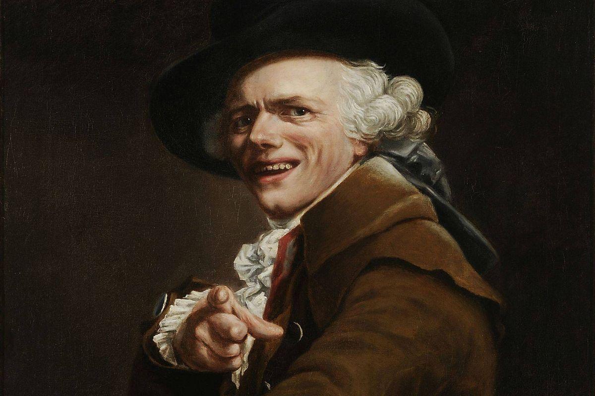 Joseph Ducreux (26 June 1735 – 24 July 1802) - Portrait de l'artiste sous les traits d'un moqueur, Self-portrait (detail), ca. 1793