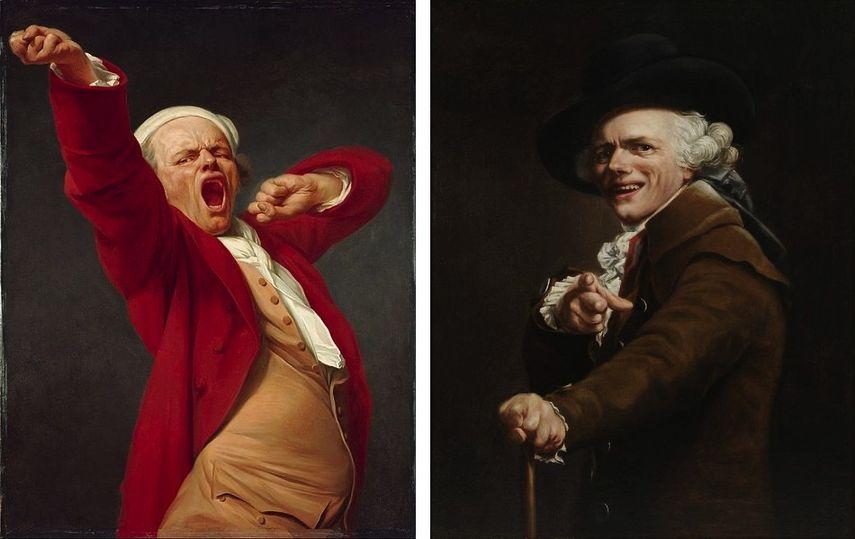 Joseph Ducreux - Self-Portrait, Yawning, 1783 Joseph Ducreux - Portrait de l'artiste sous les traits d'un moqueur, Self-portrait, ca. 1793
