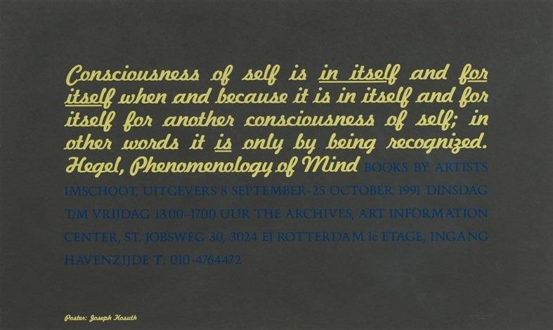 Joseph Kosuth-Conciousness... Hegel, Phenomenology of Mind-1991
