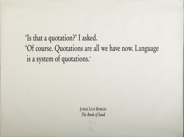 Joseph Kosuth-Jorge Luis Borges, The Book of Sand-1995