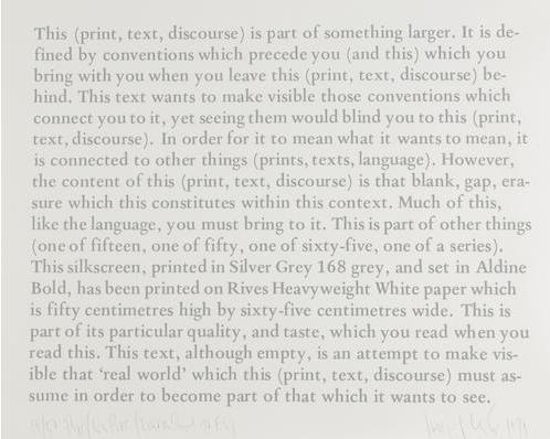 Joseph Kosuth-Text, Context, Convention-1979