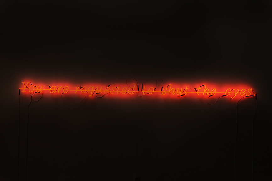 Joseph Kosuth - Zero & Not #14 (Freud series), 1987. Neon mounted directly on the wall, 4 7/10 × 118 1/10 in, 12 × 300 cm. Courtesy Vistamare