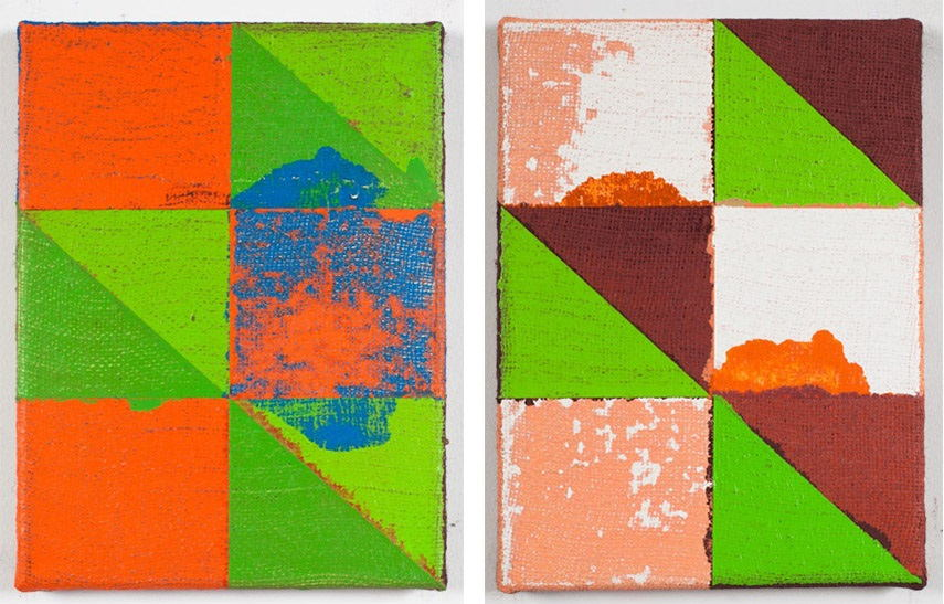Joshua Abelow - Untitled (Abstraction NUU), 2012 (Left) / Untitled (Abstraction FNUU), 2012 (Right) new york  2010 linen gallery oil paper james fuentes burlap exhibition