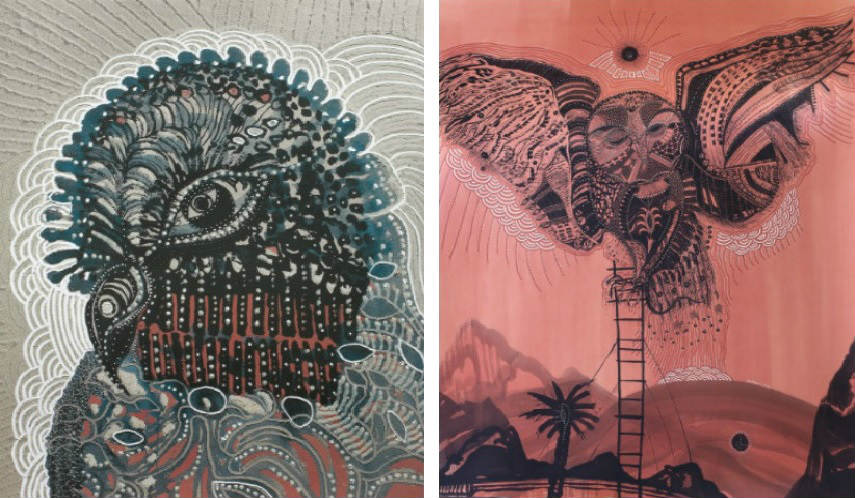 Joshua Yeldham - Bird of Paradise, 2015 (Left) - Owl of Soltitudes Ladder, 2015 (Right)