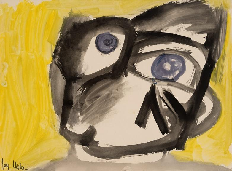 Joy Hester - Face with yellow background