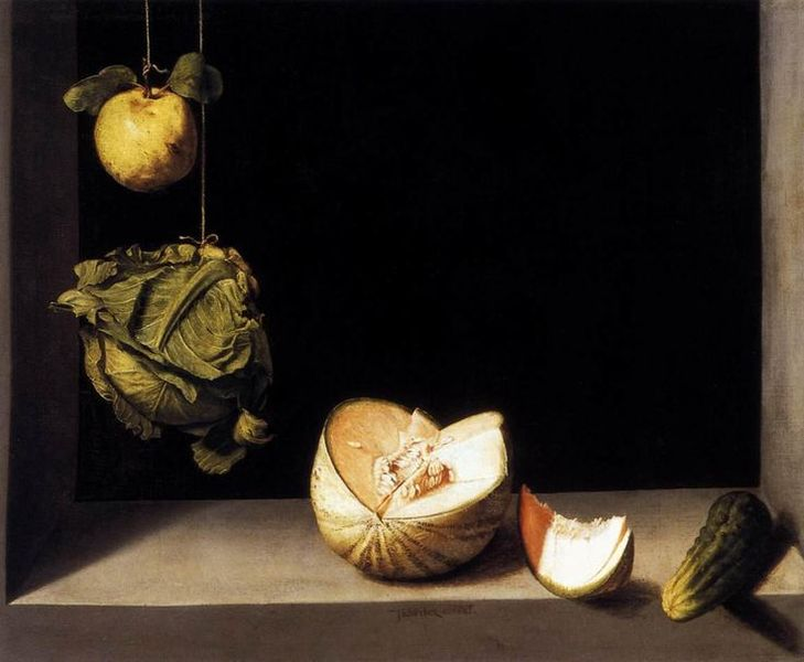 Juan Sanchez Cortan - Still Life With Quince, Cabbage, Melon, and Cucumber, 1602-1603, via pinterest com