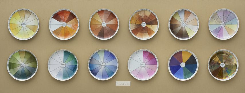 China-painting Color Test Plates for place settings for The Dinner Party, 1974