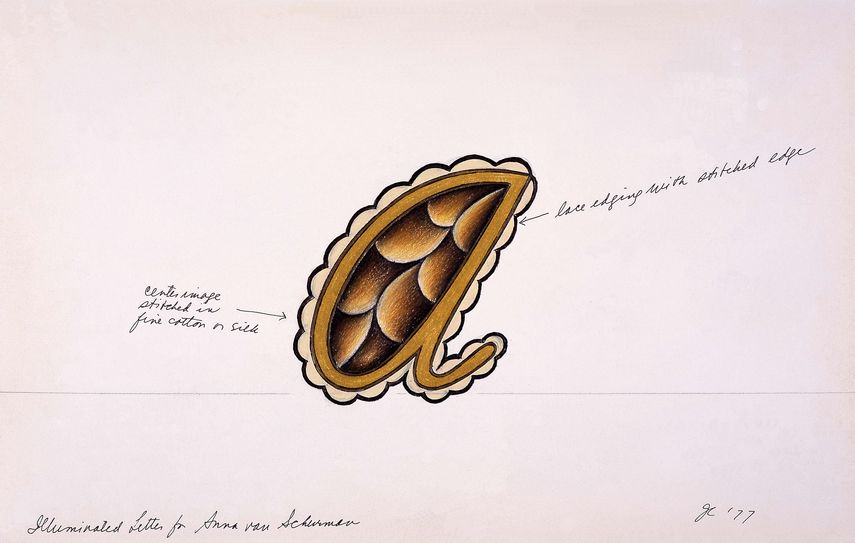 Illuminated Letter for Anna van Schurman from The Dinner Party, 1977