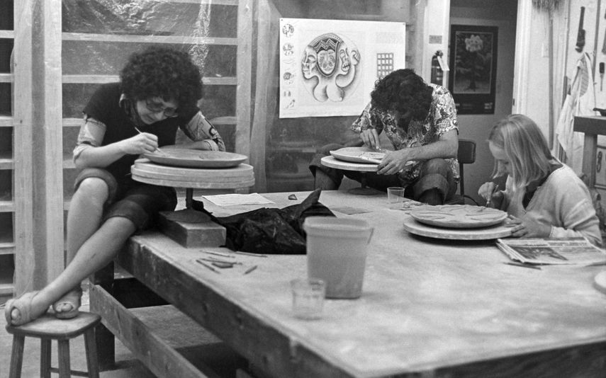 Judy Chicago Working on the Dinner Party in the Ceramics Studio, 1977