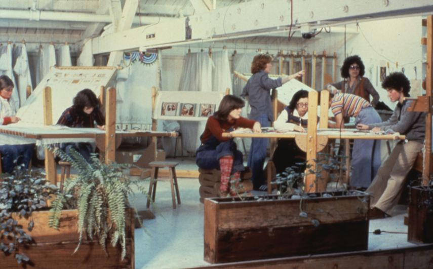 The Dinner Party Place Settings - Judy Chicago and Others Working in the Needlework Loft, 1978