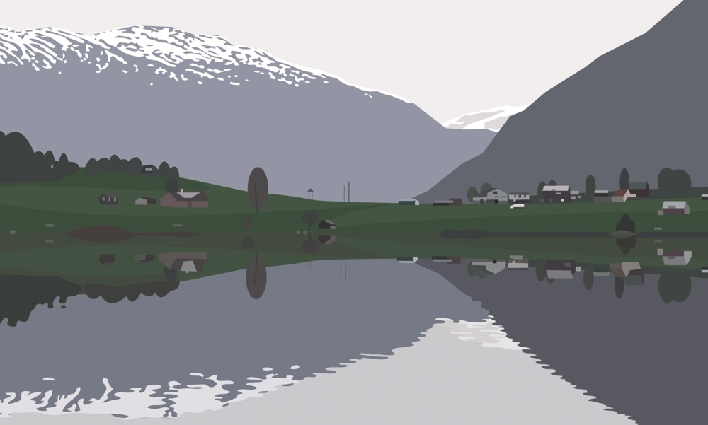 Julian Opie-I Had Made A Couple Of Animated Films Of Rippling Water But I Had An Idea Of A Landscape Painting With Water Moving In The Foreground...-2005