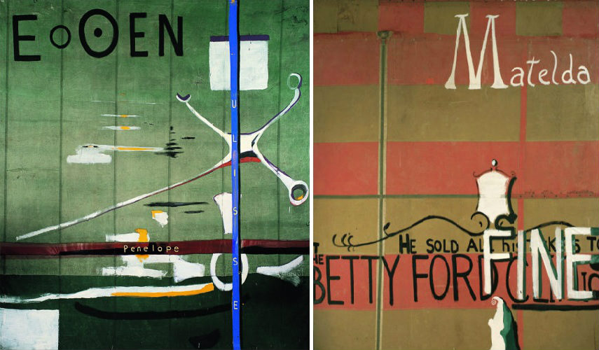 Julian Schnabel - E O OEN, 1988 (Left) - Matelda (Map of Heaven and Hell), 1988 (Right) news director paintings contact