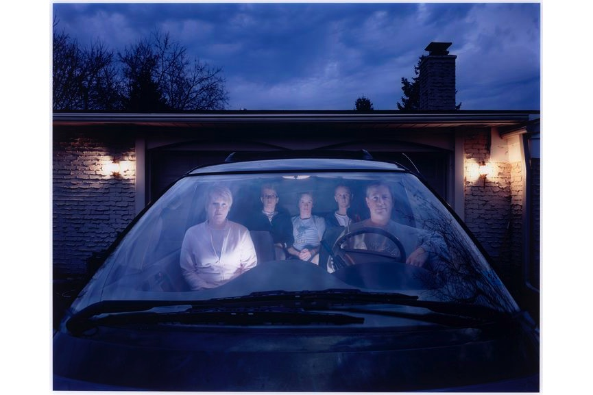 Julie Mack - Self-portrait with family in SUV, Michigan, 2007