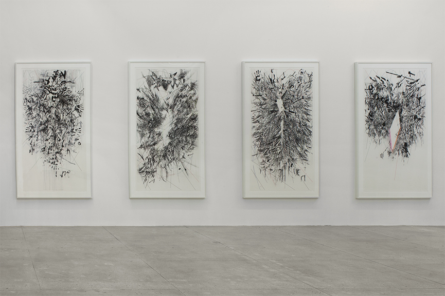 Julie Mehretu - Myriads, Only By Dark (Unfolded Body Map, Mathematics Of Droves, Indigine, Origin)