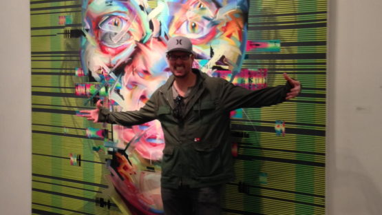 Justin Bower in front of his work Moment of Collision