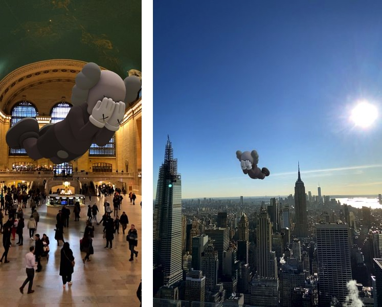 KAWS, COMPANION (EXPANDED), 2020, augmented reality, KAWS - Companion, NewYork, Rockefeller