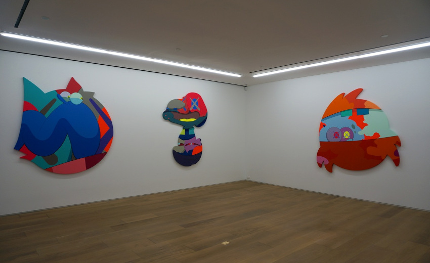KAWS - Pass the Blame, solo show at Galerie Perrotin, 2013, installation view, photo via perrotin