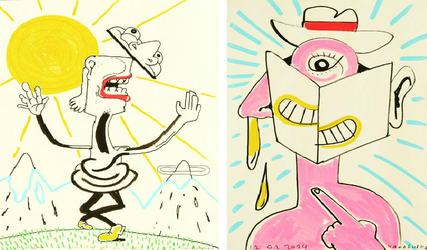 Kamagurka - Drawing with Sun, 2014 (Left) - Drawing with Hat, Book and Snot, 2014 (Right) anmelden english video melde geladen deutsch foto 2009 entfernen aufrufe dauer comedy cookies kamagurka 2016 2015